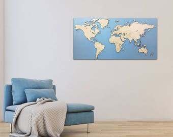 Wooden world map laser cut 122cm x 61cm