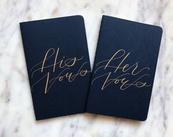Navy Vow Books with Metallic Ink Calligraphy // Modern Calligraphy, Navy Vow Books, Custom Calligraphy Moleskine Notebooks, Wedding Details