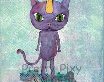 Unicorn Kitty - Archival Print, Nursery Art, Boy's Room, Children's Wall Art, Child's Room, Giclee