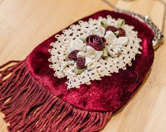 Antique Maroon Velvet Fringe Coin Purse