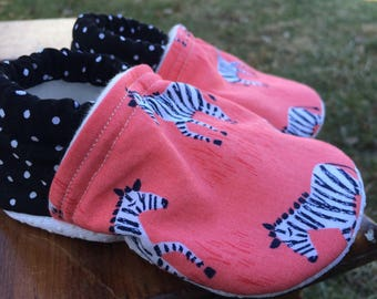 Baby Shoes for Girls - Coral Pink Zebra Print with Black Polka-Dot Fabric - Custom Sizes 0-24 months 2T-4T