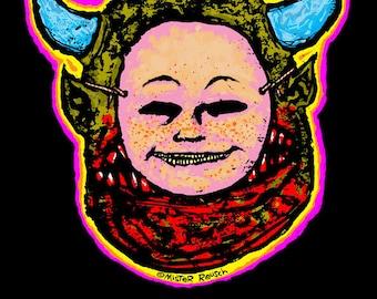 Put On A Happy Face Demon Motivational Print by Mister Reusch