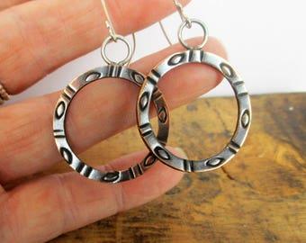 Stamped Hooped Copper Earrings