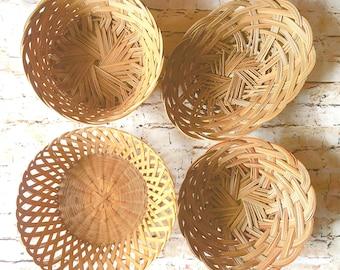 Vintage Bohemian Boho Baskets Farmhouse Style Woven Baskets Bowls Planter Natural Hygge Wicker