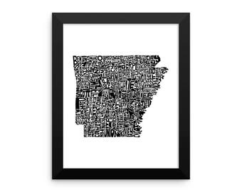 Arkansas typography map art FRAMED print customizable state poster wedding engagement graduation gift anniversary personalized wall decor