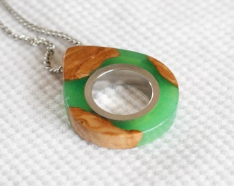 NEW Green Raindrop/Teardrop Necklace - Wood and Resin Jewelry - Gift For - Raindrop Necklace