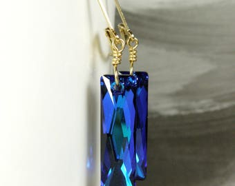 Royal Blue Earrings, Swarovski Crystal, 14k Gold Filled, Long Rectangle Baguette Dangle, Horizon Bridesmaid Gift, Modern Wedding Jewelry