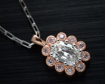14kt Rose Gold Pendant W/ antique Cushion Modified F-VS1 .57ct