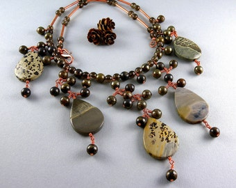 Pyrite Stone and Copper Fringe Gemstone and Pearl Statement Necklace with Free USA Shipping