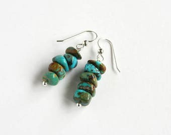 Genuine Turquoise Earrings Argentium Earrings Kingman Turquoise Chunky Chips New Boulder Turquoise Jewelry Sterling Silver Chip Beads #17556