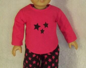 18 inch Doll Pink Stars Pajamas
