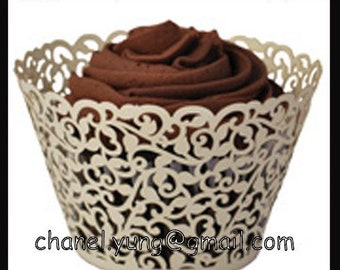 120pcs Garden Laser Cut Wedding Party Lace Cupcake Wrappers,Cake Decoration Packing,Cake Cup,Cake Case,Cake Decortion Tray