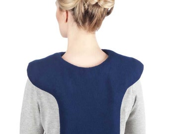 Heat Pad for Neck Shoulder Upper Back Pain Relief, Blue Washable Anti-pil Fleece Cover, Cotton Insert, Size Large