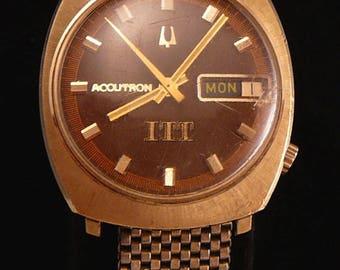 14K Bulova Accutron Mens Watch ITT Employee Gift 1972
