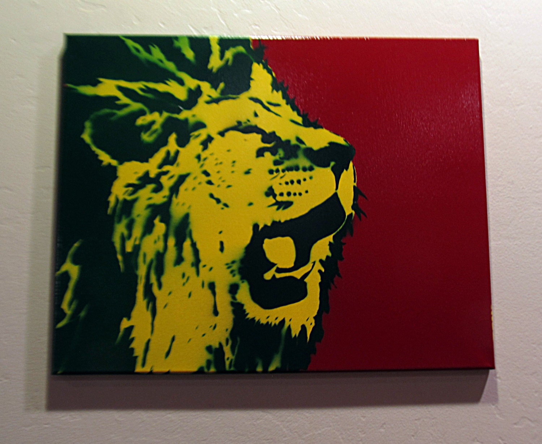 Hand spray painted Rasta Lion Roar Spray Paint stencil art