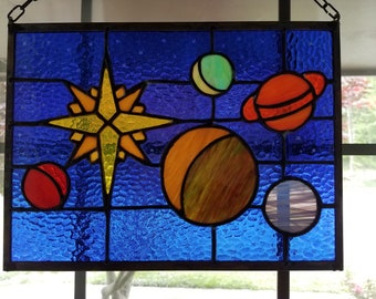 Stained Glass Window Sun Catcher Planets