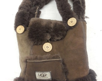 UGG Australia  Brown Suede Flap Closure Tote Purse Shearling Handbag