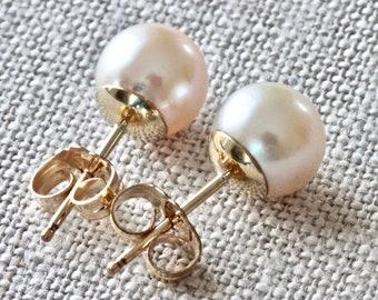 Gold Stud Earrings, White Pearl Earrings, Freshwater Pearl Earrings, Gold Filled Jewelry, Gold Post Earrings, Real Pearl Earrings for Women