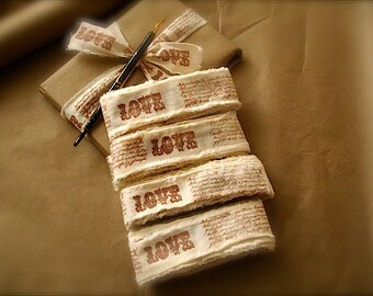 Personalized Ribbon 8 yards / rustic wedding decor custom ribbon 8 yards handstamped muslin ribbons, love ribbons (Buy 2 get 1 free)