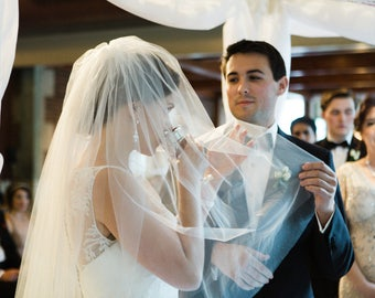 Bridal 2 Tier Layers Cathedral Length Bridal Wedding Veil Ivory or White