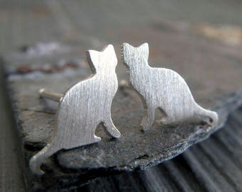 Cat sterling silver stud earrings. Small post jewelry. Animal lover. Kitty earrings. 14k gold filled and solid 14k yellow gold available.