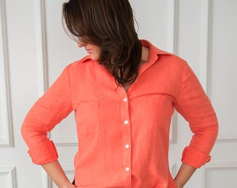 Linen shirt, Salmon linen shirt, Linen blouse, Linen top, Salmon linen top,  Salmon linen blouse, Blouse, Shirt, Top, Womens blouse, Elegant