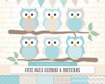 Patterned Soft Blue Owls Clipart and Digital Papers - Soft Blue Owl Clipart, Owl Vectors, Baby Owls, Cute Owls, Baby Boy Owls