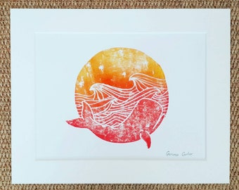 Sunset Whale Lino Print