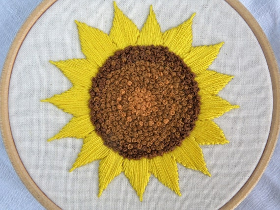 Sunflower Hand Embroidery Embroidered Flower Hoop 4 Inch Wall Art Hoopart