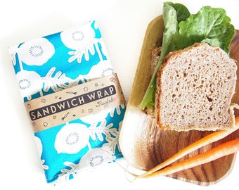 Sandwich Wrap with Food-Safe Nylon Lining - Blue Floral