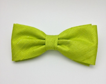 Solid Plain Lime Green Bow tie Silk Clip On Pre tied Bow Tie Wedding Gift for Him Men Kid Children Baby Groom Groomsmen Christening Birthday
