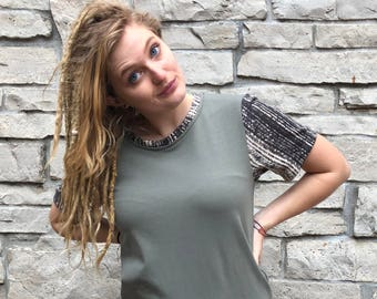 Olive Green Stretch Knit Tee