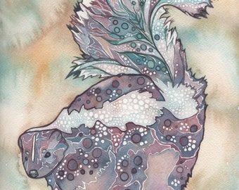 Skunk 8.5 x 11 print of detailed watercolour artwork in whimsical lavender purple mauve rust turquoise earth tones