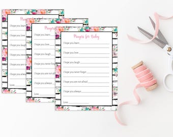 Prayers for Baby Printable, Baby Shower Games, Printables, Watercolor Floral Stripe