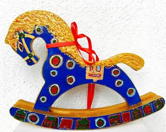 Waldorf Toy Horse Lovers Gift Wooden Hand-painted Horse Toy Blue Eco Friendly Gift For Children For Adults Free Shipping