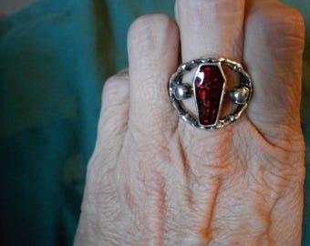 Skeleton and coffin vampire ring