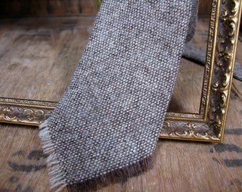 British Wool Tie, Wool Tie, English Tie, Wool Necktie, Vintage Tie, Pure Wool Tie, Brown Tie, Brown Wool Tie, Brown Wool Necktie, Woven Tie