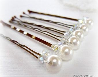 Bridal Hair Pins. White Pearl Hair Pins. Pearl Hair Pins w Swarovski Crystal Accents. Set of 6 Hair Pins