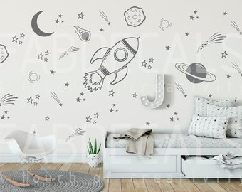 Space Wall Decals, Rocket Decal, Space Ship Decal, Boys Room Decor, Outer Space Decal, Space Wall Mural, Planet Decal, Space Wall Sticker288