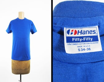 Vintage 80s Blue Blank T-shirt NOS Deadstock Hanes Undershirt Made in USA - Small
