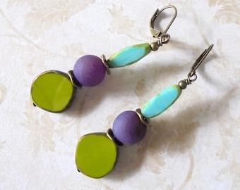 Charteuse, Purple and Aqua Earrings (4447)