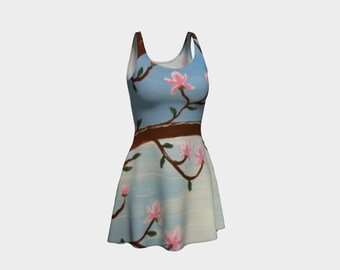 Magnolias Over the Ocean - Fine Art All Over Print Flare Dress