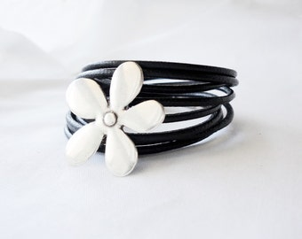 Women Leather wrap bracelet, flower cuff, women gift,