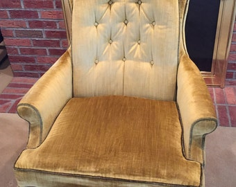 Hollywood Regency muted gold and green crushed velvet chair by Silver Craft