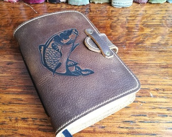 Leather Journal, leather travel journal, sketchbook, notepad, carp, fishing, gift for him, 3rd anniversary, leather book, artist sketchbook