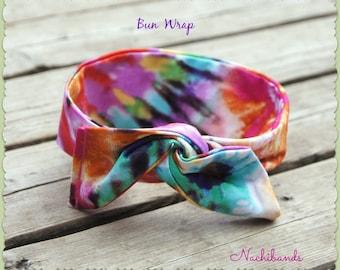 """Wire Bun Wrap Top Knot Wire Wrap """"Mini"""" Dolly Bow Wire Headband Rockabilly Tie Dyed Ponytail Hair Tie Hair Bun Tie Wrap"""