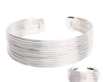 Spun Silver Adjustable Bracelet Ring and Earrings
