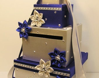 Wedding Card Box Silver and Royal Blue Gift Card Box Money Box Holder--Customize your color