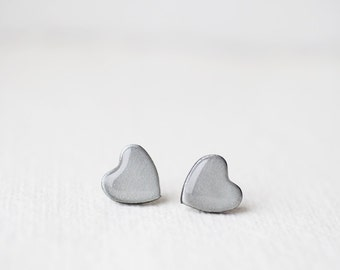 Silver Grey Glitter Heart Stud Earrings, post earrings - BUY 2 GET 1 FREE
