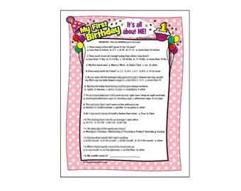 First Birthday Game - 1st Birthday Party - Girls First Birthday Trivia Game